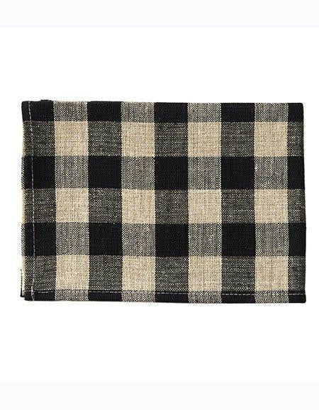 Thick Linen Kitchen Cloth Black Natural Checks