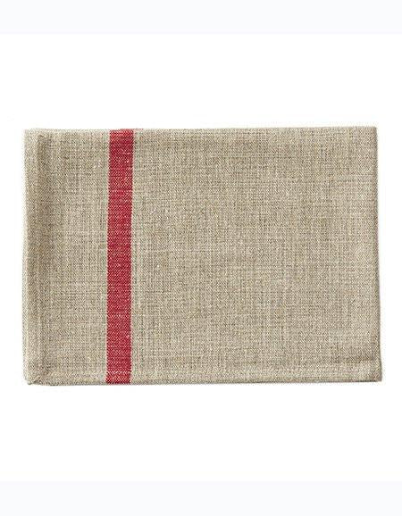 Thick Linen Kitchen Cloth Natural Red Stripe