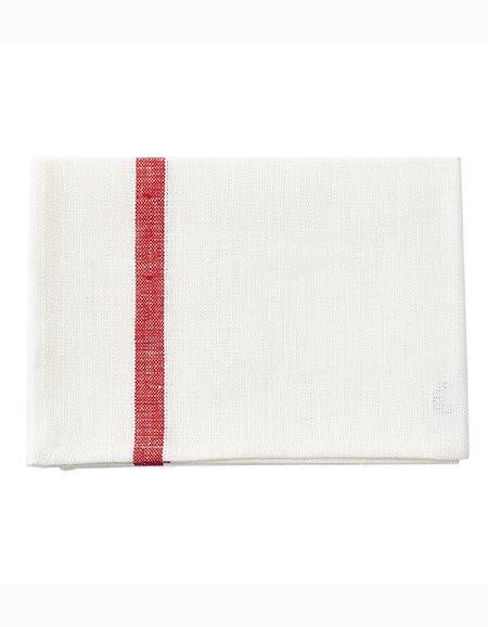 Thick Linen Kitchen Cloth White Red Stripe