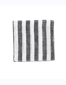 Linen Coaster Black White Stripes