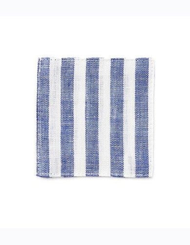 Linen Coaster Blue White Stripes