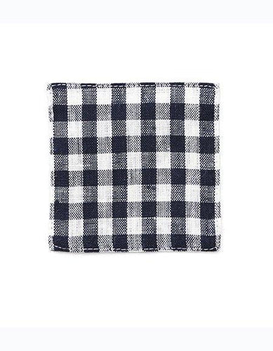 Linen Coaster Navy White Checks
