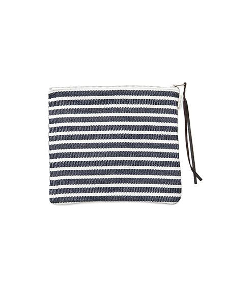 Canna Pouch White Navy Border Large