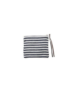 Canna Pouch White Navy Border Medium