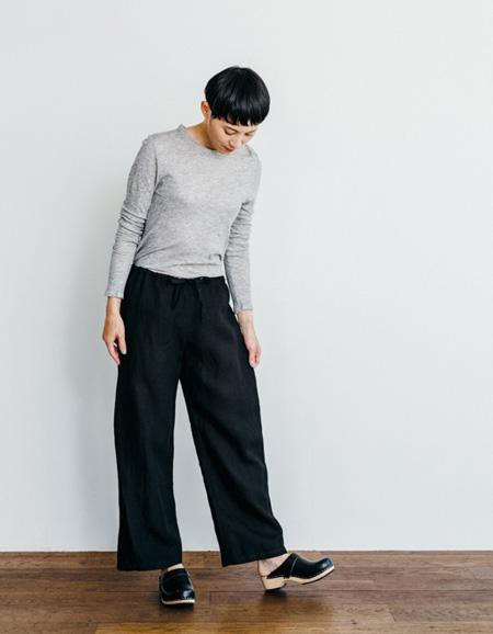 Linen Oise-Drawn String Pants Black