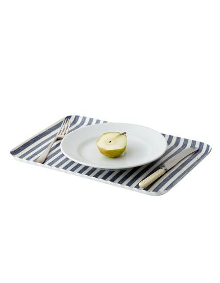 Linen Tray L Blue White Stripes