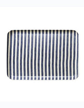 Fog Linen Tray Blue White Stripes Large