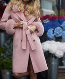 NEW IN Monaveen Sophie Wool Cashmere Coat DUSTY PINK