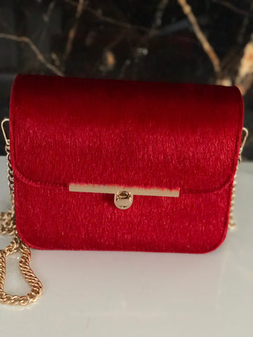 Monaveen Faux Fur Felicity Bag RED