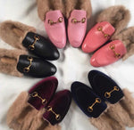 Monaveen BLACK VELVET FUR LINED Slipper / slide