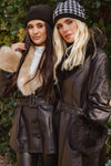 NEW IN Leather Faux Fur JENNA Short Trench Coat