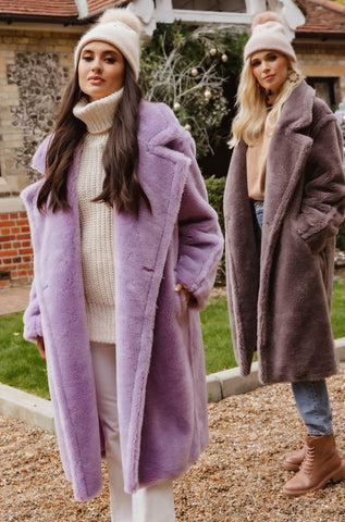 NEW IN Monaveen Long Teddy Coat LILAC