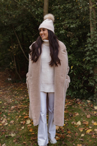 NEW IN Monaveen Long Teddy Coat LIGHT BEIGE
