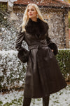 NEW IN Leather Faux Fur AFTON Trench Coat