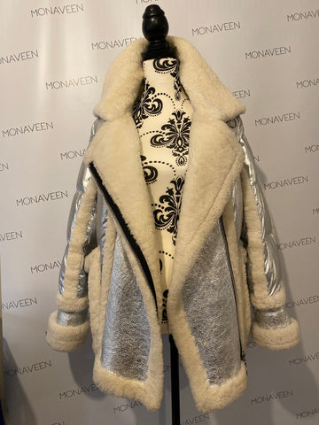 NEW IN Maeve Shearling Down Coat SILVER