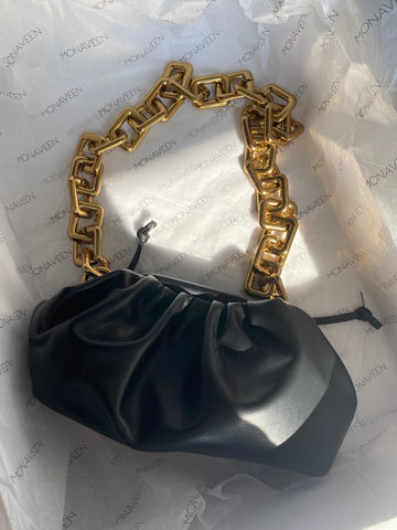 NEW IN Winnie Chunky Chain leather Bag BLACK
