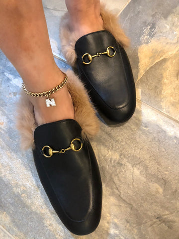 Monaveen BLACK Leather Fur Mules / Slides
