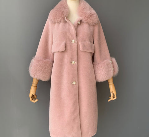 NEW IN Monaveen Pearla leather sheepskin Teddy BLUSH PINK