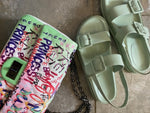 NEW IN Monaveen Leather Double strap sandal MINT GREEN