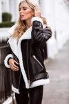 NEW IN Monaveen THEA Luxury Shearling Aviator Jacket BLACK/BLACK