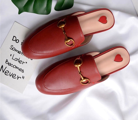 Monaveen Red Leather Mules
