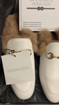 Monaveen White Leather Fur lined Mules