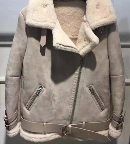 NEW IN Monaveen THEA Luxury Shearling Aviator Jacket NUDE/BEIGE
