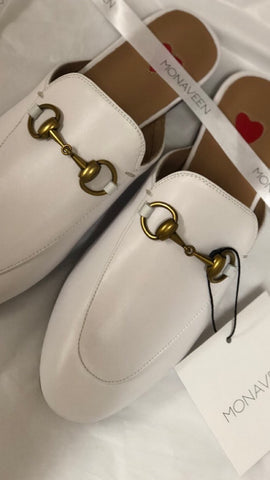 Monaveen White Leather Mules