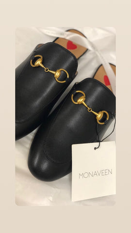 Monaveen Black Leather Mules