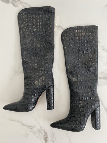 of NEW IN Monaveen DALLAS Vegan crocodile leather Boot - BLACK