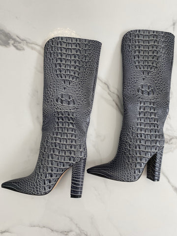 NEW IN Monaveen DALLAS Vegan crocodile leather Boot - GREY
