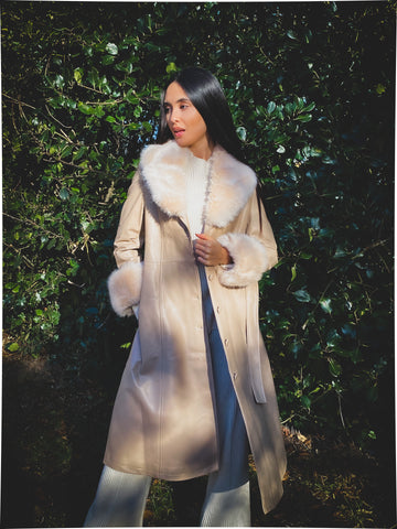 NEW IN MONAVEEN Afton Leather Faux Fur Trench NUDE