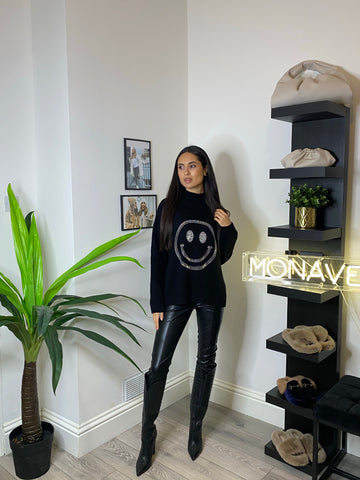NEW IN Monaveen HAPPY Diamante Jumper BLACK