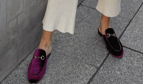 Monaveen RED WINE VELVET Slipper / mule