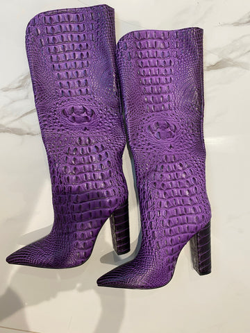 NEW IN Monaveen DALLAS Vegan crocodile leather Boot - PURPLE