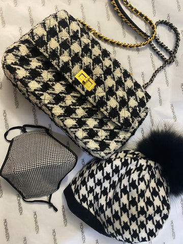 NEW IN Houndstooth Knit hat & mask set