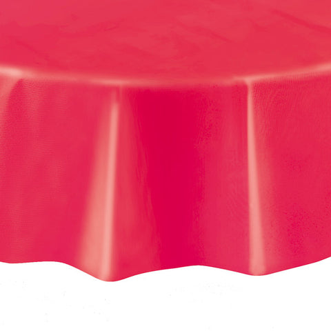 "Ruby Red Round 84"" Plastic Tablecover"