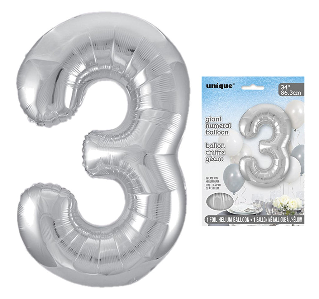 3 - Silver Giant Numeral Balloon