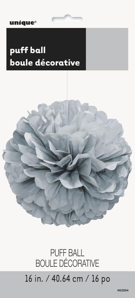 Silver Puff Ball Decoration - Party Perfecto