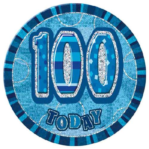 100 Today - Blue Big Badge - Party Perfecto