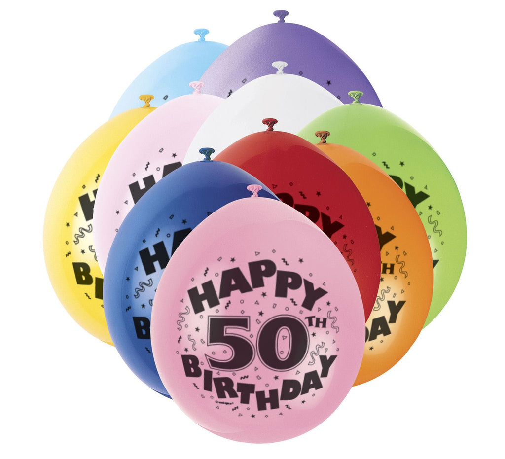 50th Birthday Latex Balloons - 10 Pack - Party Perfecto