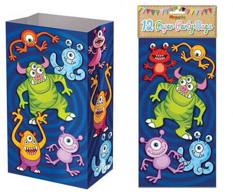 12 Monster Paper Bags - Party Perfecto
