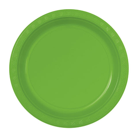 "6 Lime Green Plastic 10"" Plates"