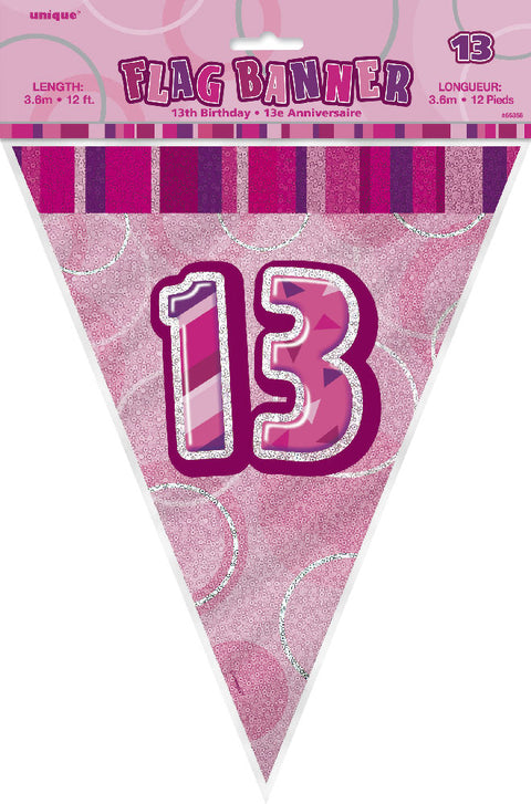 13th Pink Glitz Bunting - Party Perfecto