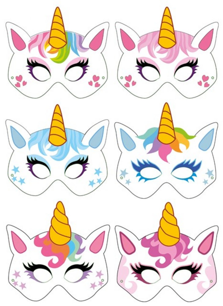 6 Cardboard Unicorn Masks