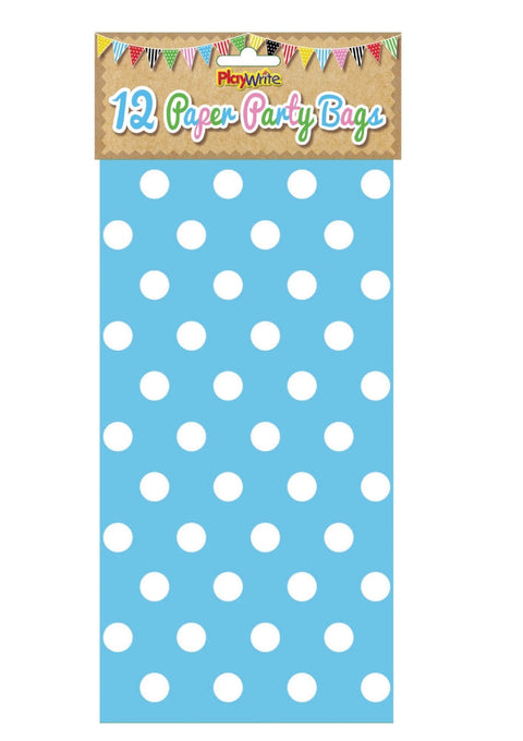 12 Blue Polka Dot Paper Bags - Party Perfecto