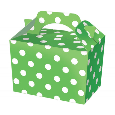 10 Green Polka Dot Boxes - Party Perfecto