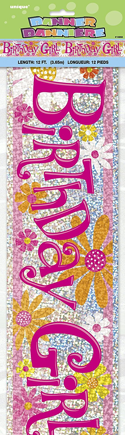 Birthday Girl 12ft Holographic Foil Banner