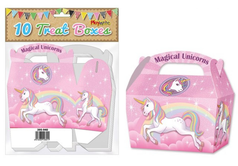 10 Unicorn Treat Boxes - Party Perfecto