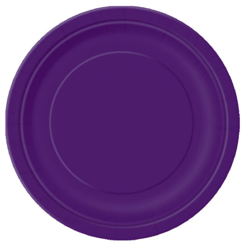 "16 Purple Round 9"" Paper Plates - Party Perfecto"